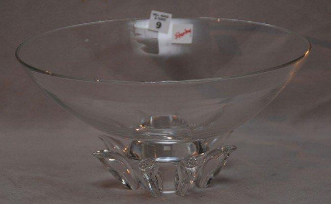 """9: Steuben glass signed centerpiece bowl, 12 1/2""""dia x"""