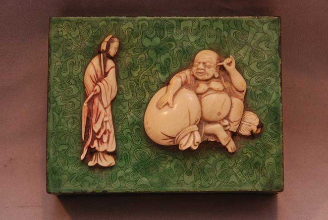 14: Chinese enamel green box with 2 ivory figures affix