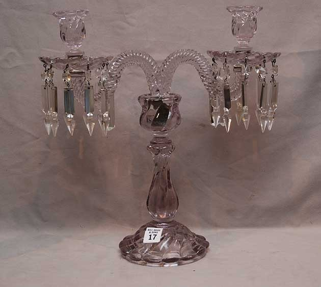 """17: Double branch crystal chandelier with 4"""" prisms, (d"""
