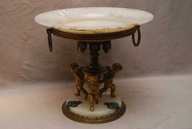 19: Bronze, marble & enamel centerpiece with 3 gilt met