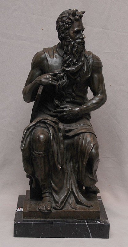 19A: Bronze sculpture of Moses, after Michelangelo, on