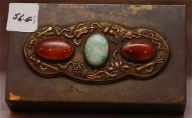 056G Chinese bronze box with jadeitie and agate 19th