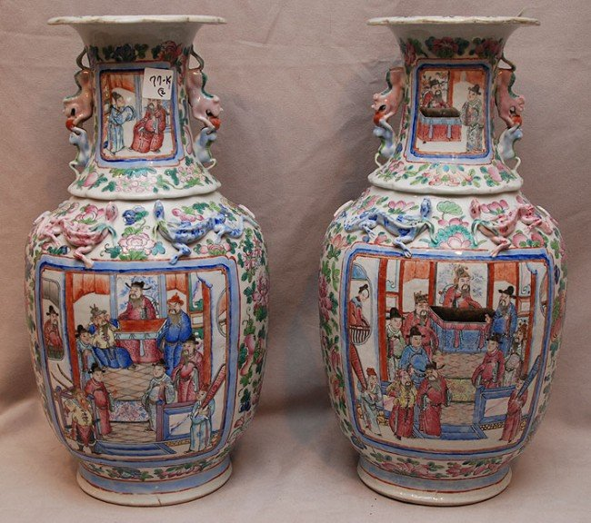 077K: Pair Chinese porcelain vases with many colors, 19