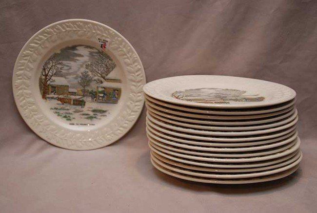 "1: 16 pictorial dinner plates by ""N. Currier, Adams"" 10"