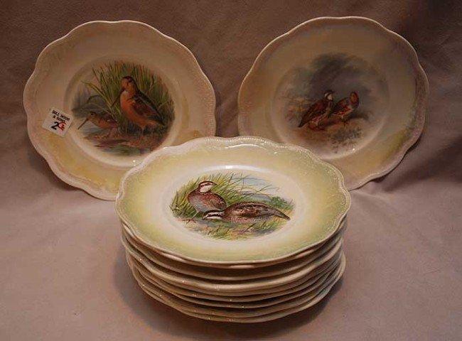2: 12 chinaware assorted bird plates, crazed, 8 1/8' di