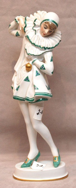 2A: Rosenthal female jester, white and green, Bavaria