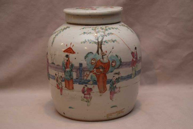 4: Old Chinese export ginger jar with lid, handpainted