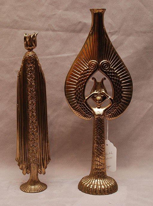 5: 2 Candlesticks by Erte' , heavy bronze/brass figural