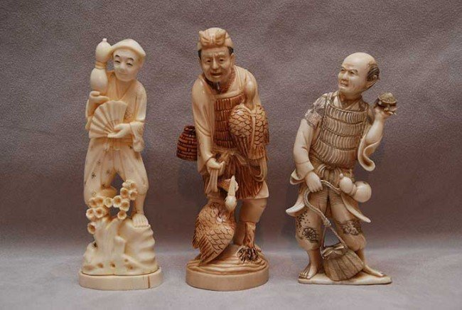 """6: 3 ivory figures, one is 6""""h, one is 5 3/4""""h and othe"""