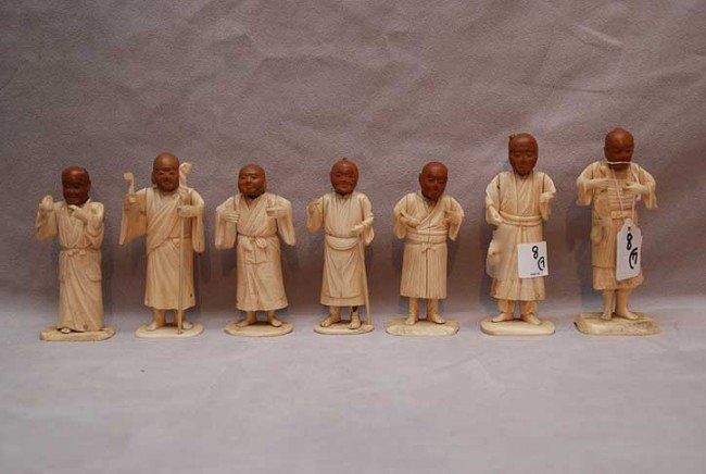 """8: 7 Chinese ivory carved figures, tallest is 5 3/4""""h,"""