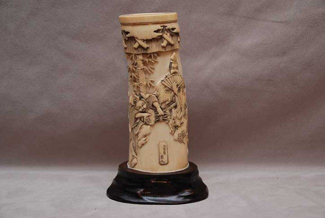 10: Antique Japanese ivory Tusk, high relief carving of