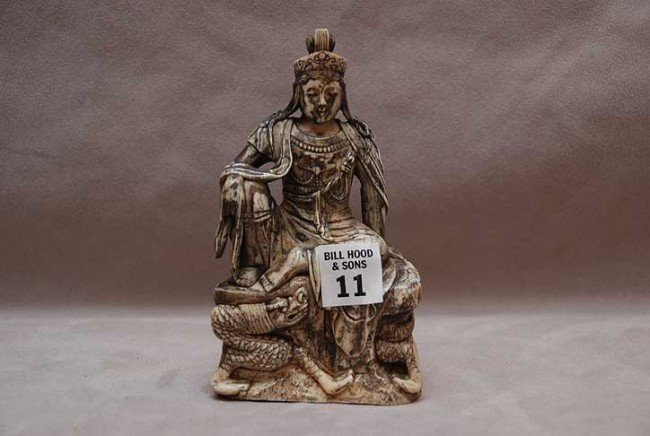 """11: Seated carved ivory goddess, 6""""h x 3 1/2""""w"""