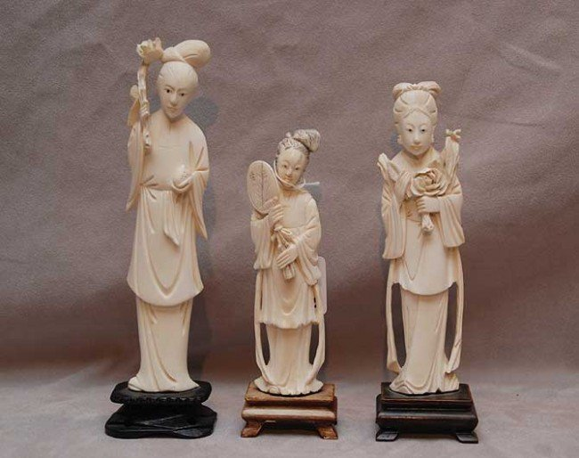 """14: 3 carved ivory Chinese ladies, tallest is 8""""h, shor"""