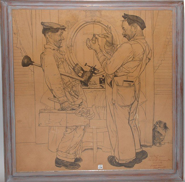 """110: NORMAN ROCKWELL  Lg.  Drawing   """" The Plumbers """""""