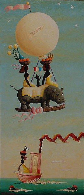 "115: ORVILLE BULMAN o/c "" Paris Espris "" Hippo Painting"