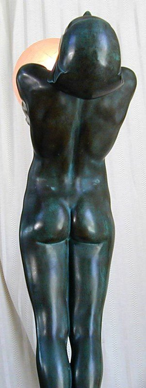 129: MAX LE VERRIER (FRENCH 1891-1973) DECO BRONZE LAMP - 9