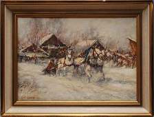 176B Russian Impressionist oil Painting Winter Scene