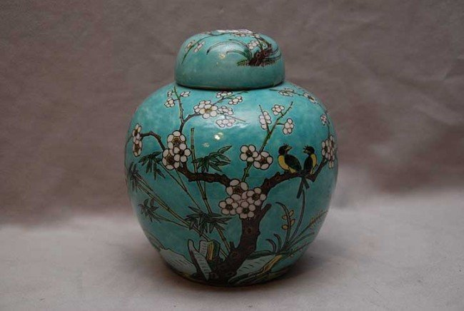 393: Antique Chinese blue ginger jar with birds, 7 1/2""