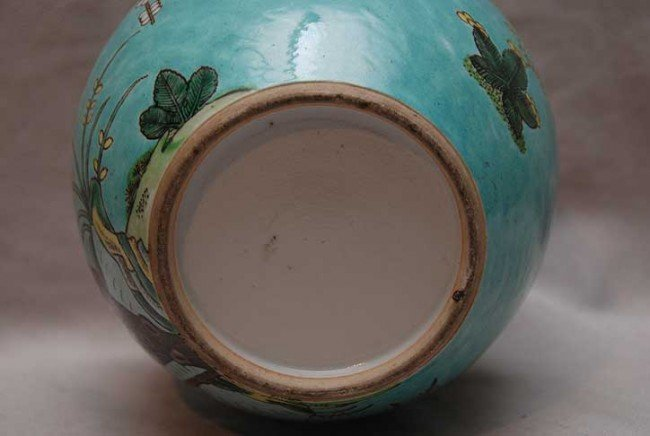 "393: Antique Chinese blue ginger jar with birds, 7 1/2"" - 2"