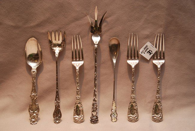 3: Sterling lot of 7pcs; 3 dinner forks , enamel condim