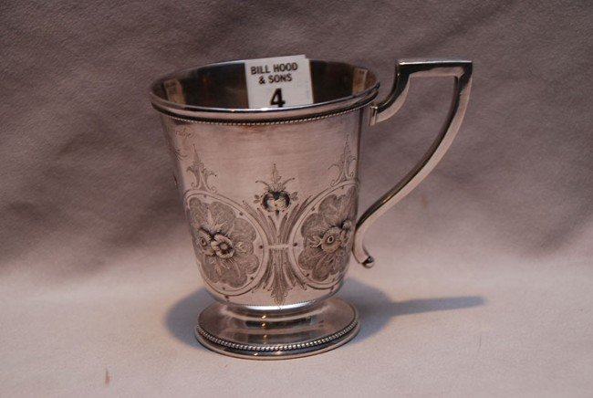 4: Gorham sterling mug, etching on side, Breckenridge c