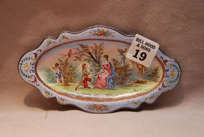 19: Small enamel tray, mythological putti scene on fron