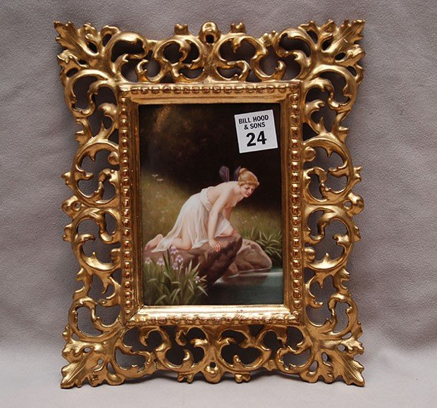 24: KPM porcelain hand painted plaque, fairy looking at
