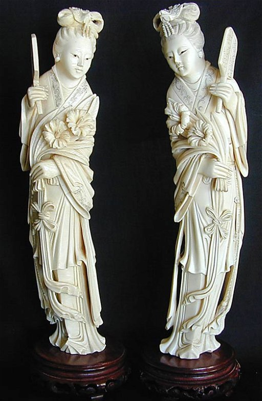 77 Pr Antique Chinese Ivory Kwan Yin Figures 12h Mar 15 2011