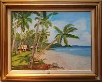 "318: Connie Cassady oil on canvas, ""Fiji Island"", label"
