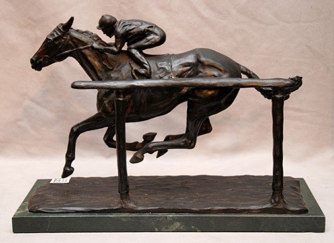 "322: Bronze jockey on race horse #5, marble base, 9""h x"