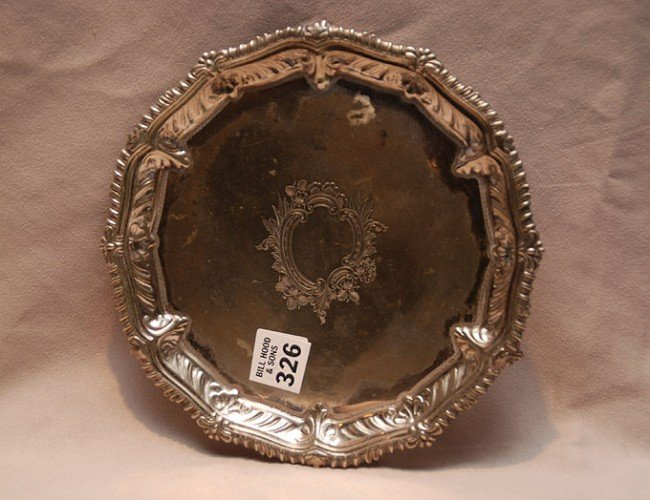 "326: Chippendale style ""Sheffield"" salver, heavily deco"