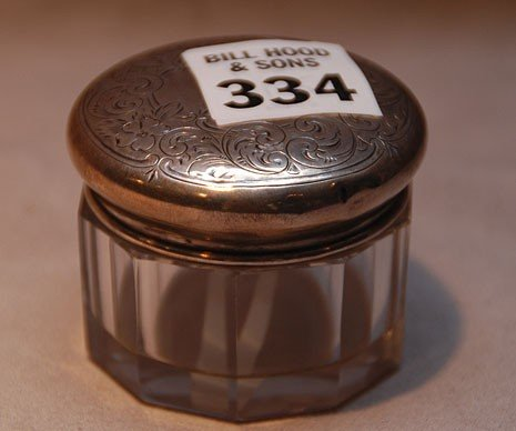 334: Glass vanity jar with sterling lid