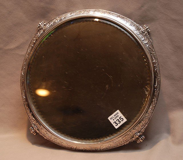 "335: Victorian Quadra plated mirrored plateau, 12""dia"