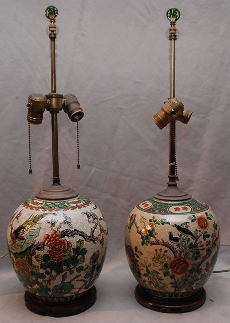 338: Pair of Chinese ginger jars converted into lamps o