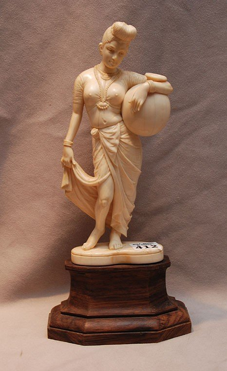 "412: Carved Indian ivory lady with water jug, 8 1/2""h"