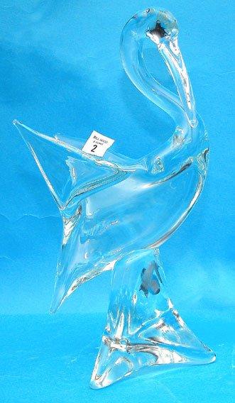 "1002: Signed glass pelican sculpture, 14""h"