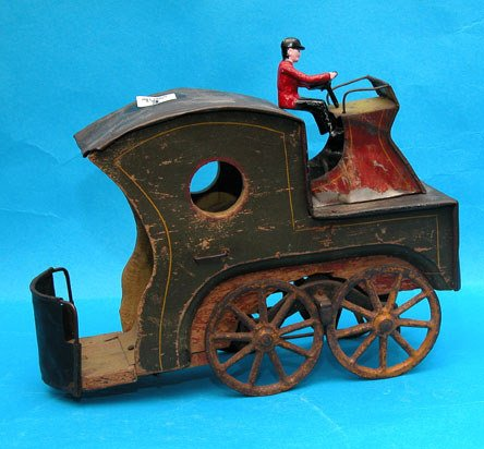"""1003: 19th century tin stagecoach without horses, 10""""l"""