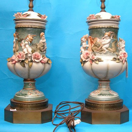 """1008: Pair of 21""""h Capodimonte putti lamps on 4"""" brass"""