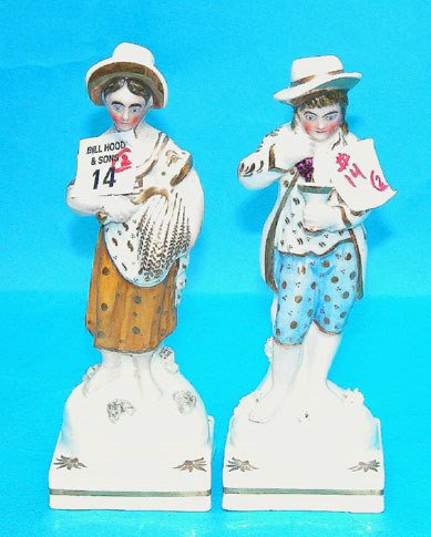 """1014: Pair of 6 3/4""""h man and woman porcelain figurines"""