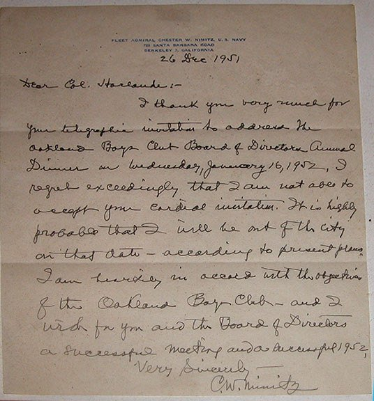 1042A: US WWll Admiral Chester W. Nimitz Autograph sign