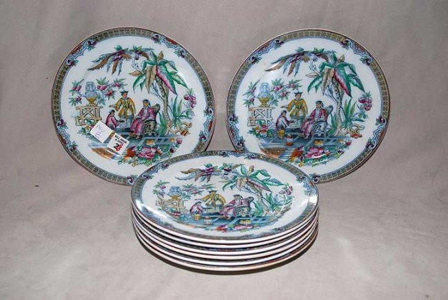 "2: 8 Peking lustre plates ""James Beach"" 1880, 9 1/2""dia"