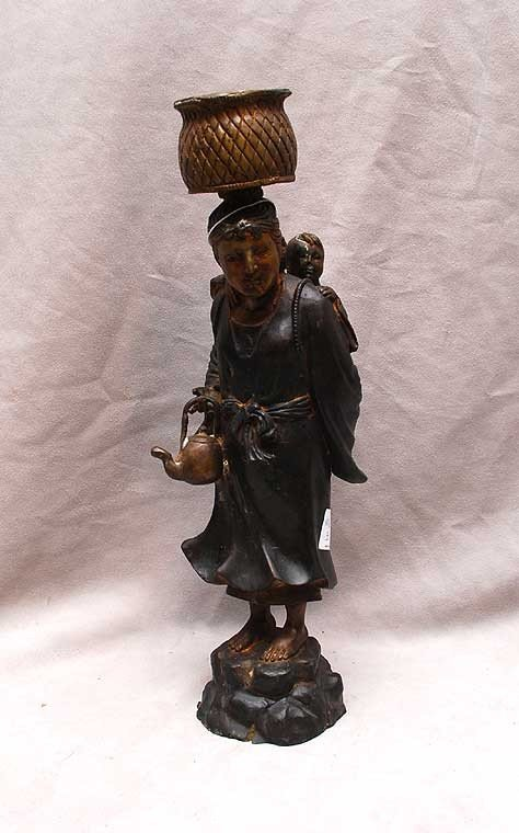 3: Chinese bronze mother with basket on head and child
