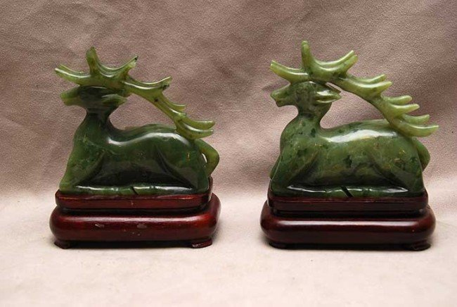 """5: Pair of spinach jade stags, 4""""h x 4""""w (without stand"""