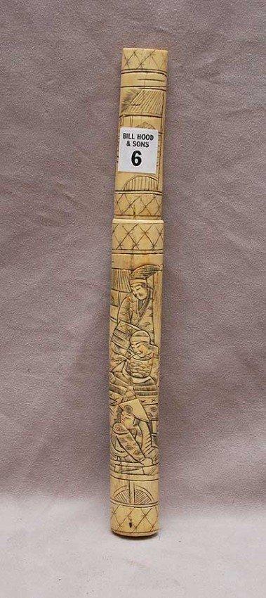 """6: Asian knife in bone/ivory carved sheath, 11 3/4""""L"""