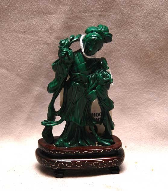 """9: Malachite Chinese figural carving, 4""""h with stand"""