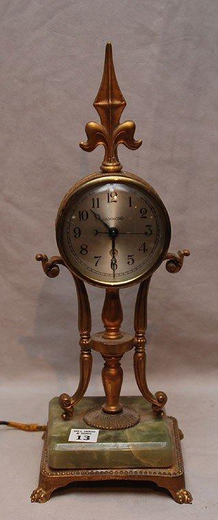 13: Clock, circa 1930, Hammond Clock  Chicago onyx base