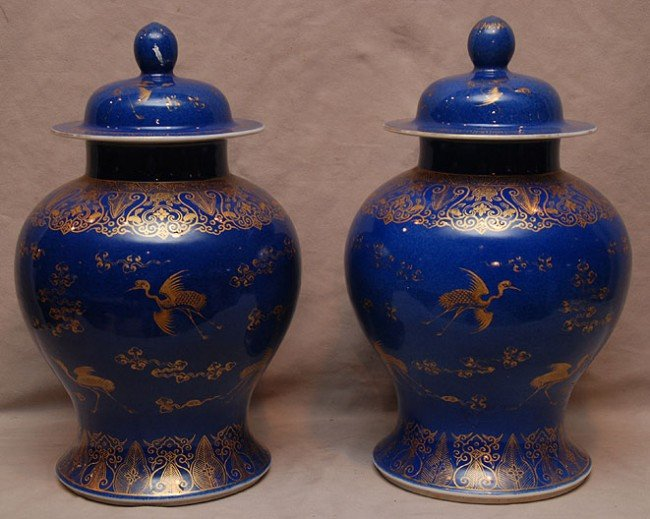 13A: Pair of antique Chinese blue and gold decorated co