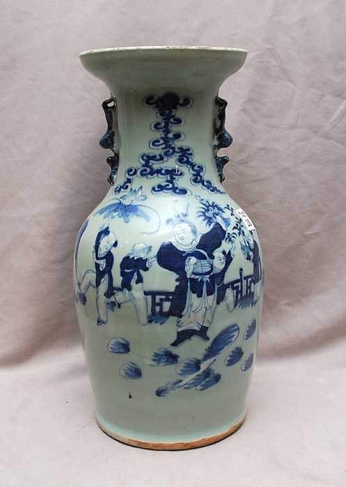 """16: Chinese blue & white vase with 5 figures, 16""""h"""