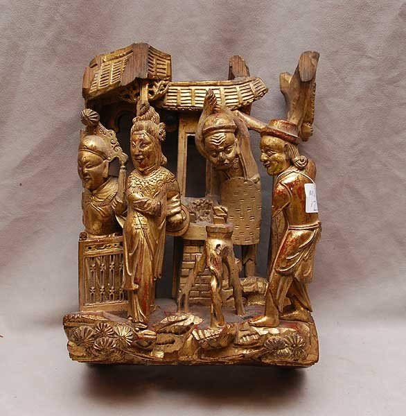 """17: Gilded wood carving of 4 figures 14""""h (some pieces"""