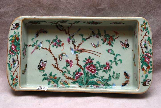"""18: Shallow Famille verte Chinese  bowl, 13 1/2""""w x 2""""h"""